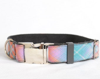 Dog Collar with Personalized Buckle,Pink and Blue check,Fabric 07