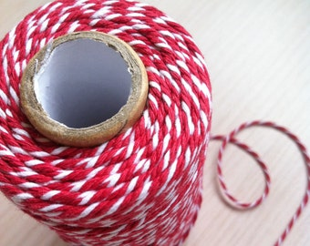 100 Meter USD9.50- 12 Ply Baker's Twine- Red and White- Great for Scrap booking, Gift Wrapping and Art and Craft