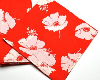Napkins White Flowers on Red Cotton Set of 4