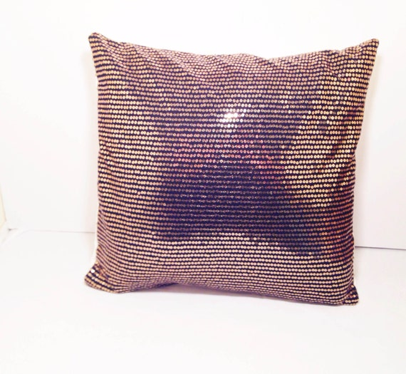 Items similar to Black and Gold Sequin Decorative Throw Pillow 14x14