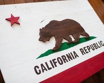 California Wood Flag, California Wooden Flag, California Flag, wall art, wood flag, California Republic, Golden Bear, Rams, Chargers, 49ers