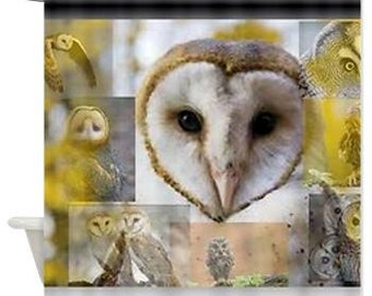 Owl shower curtain yellow brown a nd white shower curtain with