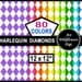 Harlequin Diamonds Digital Download Paper - a Rainbow of 80 Colors - Instant Download Paper - White Diamond Wrapping Papers
