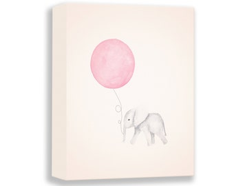 Canvas Nursery Art - Gallery Wrap - Nursery Art - Elephant Nursery - Pink and Gray - Nursery Decor - Baby Girl Nursery - E107
