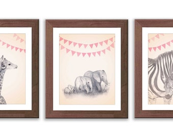 Baby Girl Nursery - Girl's Nursery Art - Safari Animal Wall Art - Safari Nursery Decor - Animal Nursery Art - S007B