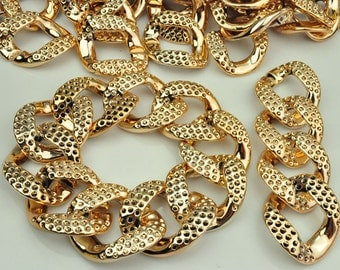 Rose Gold Faux Pave Links, Acrylic Links, Plastic Links,two different side links, 33x40mm, Qty: 50 PC
