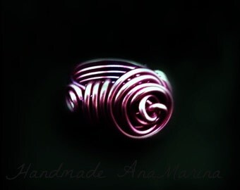 Wire Wrapped Ring, aluminum purple wire wrapped jewelry handmade, wire jewelry