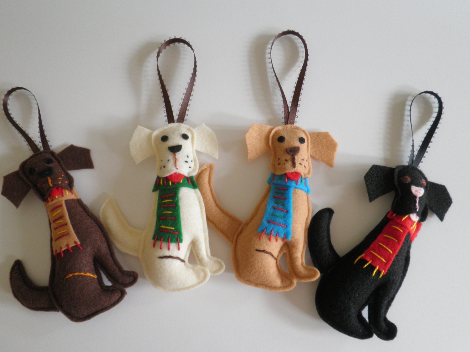 New Item - Big Loveable Labs Handmade Dog Christmas tree Ornaments Choose From 4 Colors At Just 12.99 Each