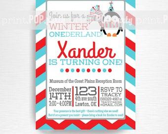 Penguin Birthday Party Printable Invitation YOU Print