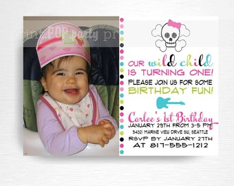 Rock n Roll Birthday Party Printable Invitation YOU Print