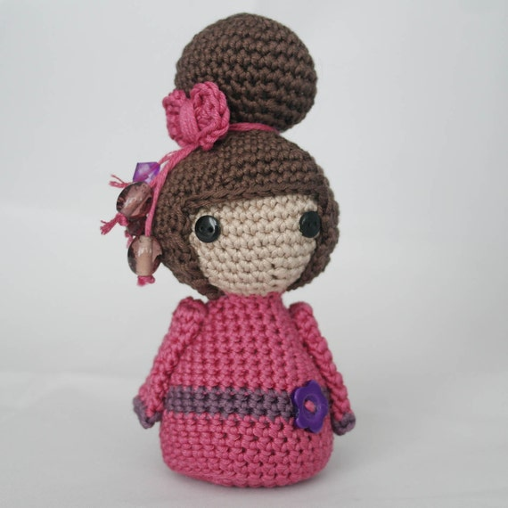 Amigurumi Free Patterns Geisha : Handmade Crocheted Amigurumi Geisha Doll Pink & Purple