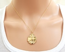 Madonna Necklace, Gold Plated Sterling Silver Madonna and Child, Miracle Medal Necklace