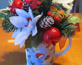 Flower Arrangement Snowman Arrangement Coffee Cup Arrangement  Decoration Christmas Decoration Christmas Centerpiece Home Decoration