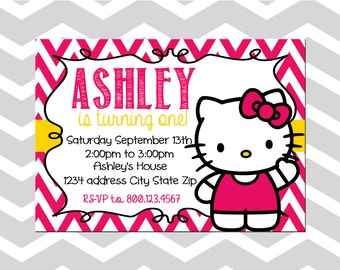 Hello kitty invite etsy hello kitty first birthday invitationcard hello kitty birthday party stopboris Image collections