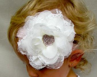 Pink Headband, Ivory Headband, Baby Headband, Shabby Headband, Infant Headband, Flower Girl Headband, Flower Headband, Headband