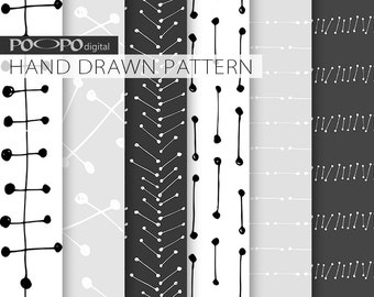 Hand drawn geometrical digital paper, geometric pattern, black, white, grey, gray, doodles, lines, dots, scribble, primitive graphics, male