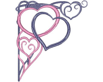 Heart, love, Valentine, corner, machine embroidery design
