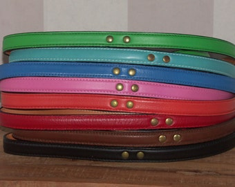 Leather Dog Leash - 4 Foot Length, 1/2 and 3/4 Inch Width - Black, Blue, Brown, Green, Orange, Pink, Red, Turquoise