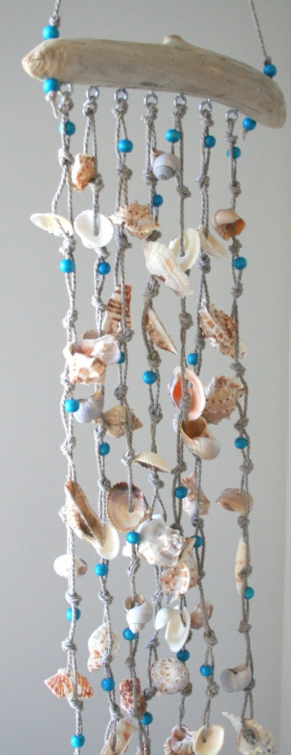 Sea shells windchime beach decor driftwood mobile for How to make diy seashell wind chime