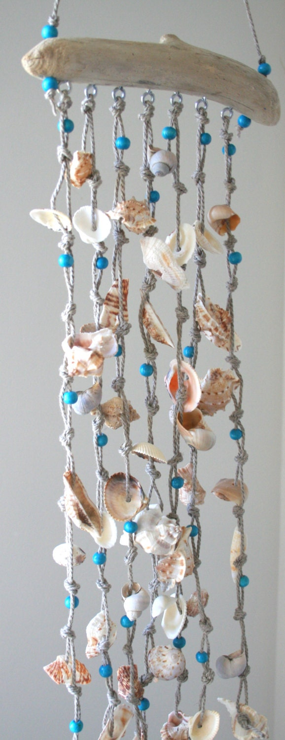 Sea Shells Windchime Beach Decor Driftwood Mobile