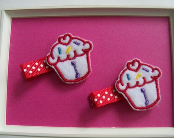 Hair Clippies, Cupcake Feltie, Personalized, Initial,  Snap Clip or Alligator Set of Two