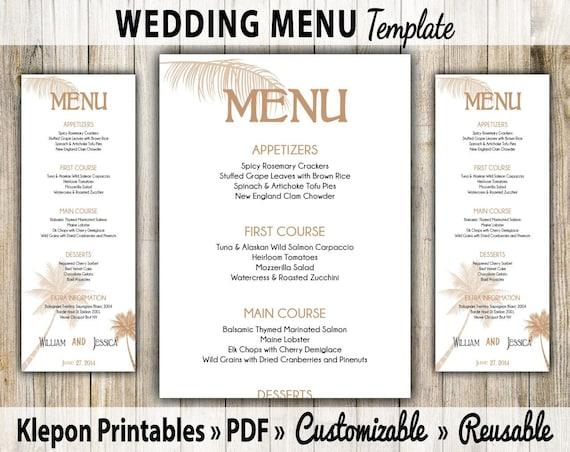wedding menu card palm tree beach theme diy by. Black Bedroom Furniture Sets. Home Design Ideas