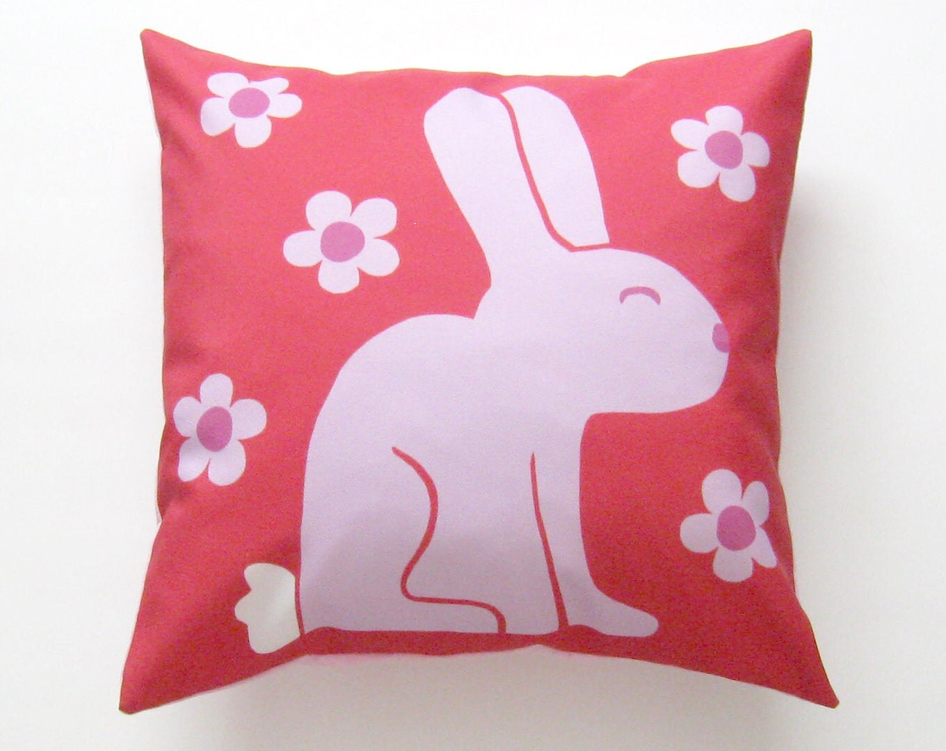 Pink Bunny Rabbit Pillow Cover 16 inch Decorative by SunlitForest