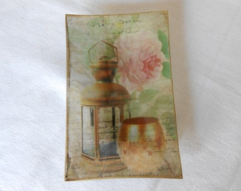 Decorative Plate. Candle Decoupage glass dish.