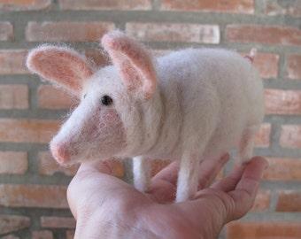 Needle Felted Wool Pig Hog
