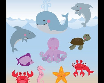 Nautical Clip Art Digital Sea Animal Very Cute Sea Animals For Baby Shower Or Party 12x12 Quot In