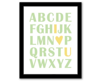 INSTANT DOWNLOAD, Abc I Love You, Nursery Wall Art, Green and Yellow, Playroom Decor, Children's Art, Kids Room, Printable Art, ABC Art