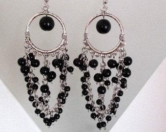 Black Beads Chandelier Earrings