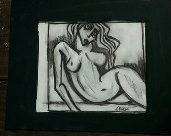 Matted charcoal sketchs
