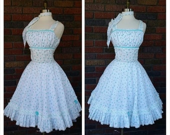 50s Swing Dress Matching Vest & Scarf White and Blue Floral xs