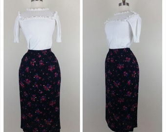 CLEARANCE 90s floral skirt black below the knee L