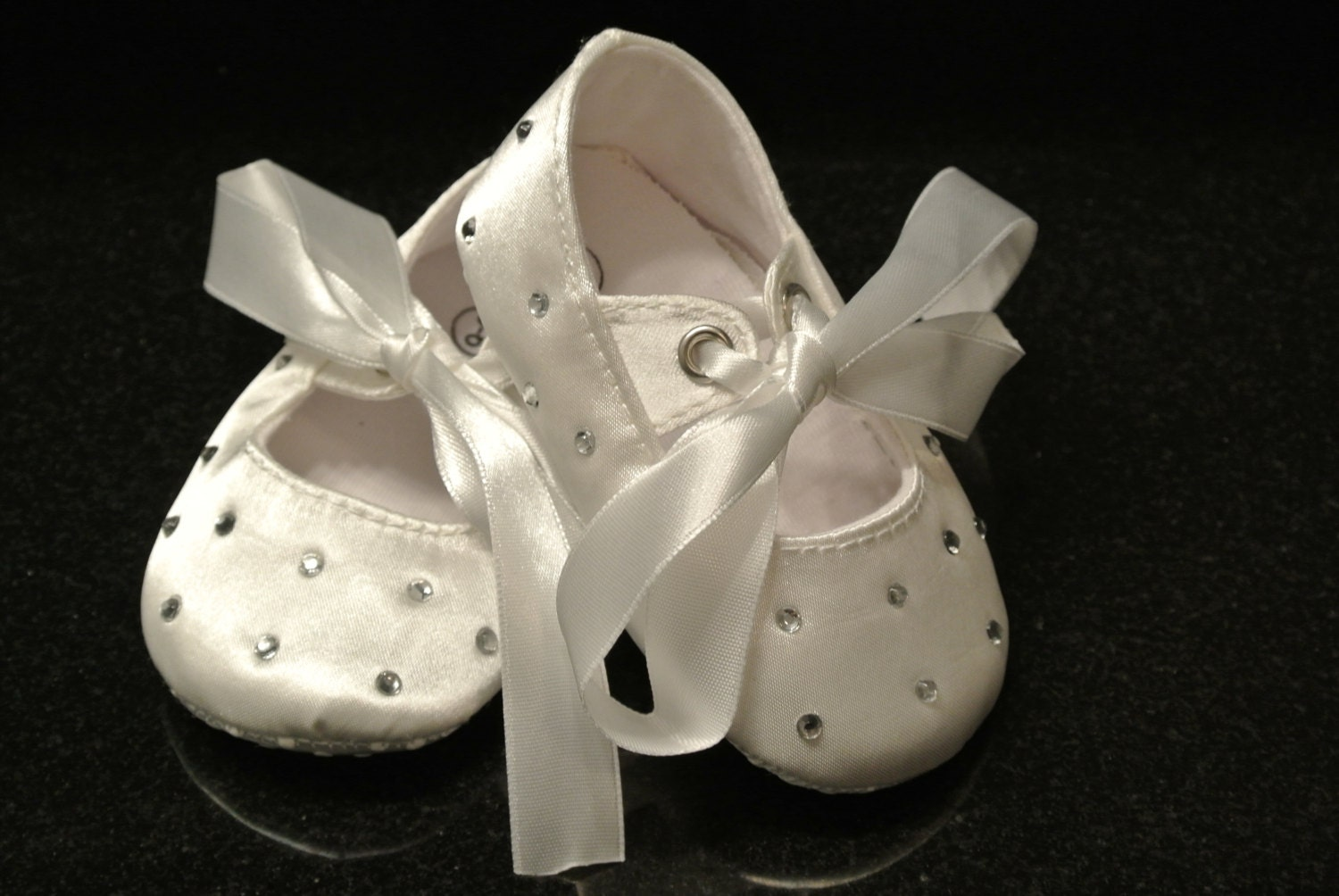 white satin rhinestone baby shoes baptism by callaanndesigns