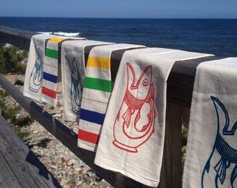 Red Fish Flour Sack Dish Towel