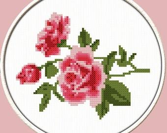 Rose Branch - PDF Downloadable Printable Cross Stitch Pattern
