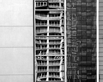 Seattle Photography, Belltown, Urban, Architecture, Reflections, Fine Art Black and White Photography, Wall Art, Home Decor, Gift Idea