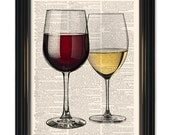 Red and White Wine dictionary art print. Home bar wall decor-time for a glass of wine-vintage book paper. Buy any 3 prints get 1 Free!