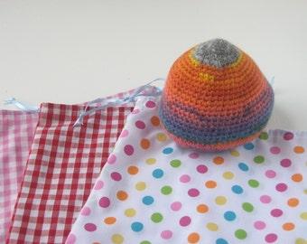 Fabric Drawstring Bag, Dotty Drawstring Bag, Gingham Drawstring Pouch