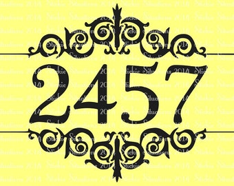 Fancy Frame House Number Mailbox Decal