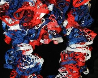 "Handmade Premier Starbella Frill Crochet Boa Scarf called ""America""   JJH-9092007"