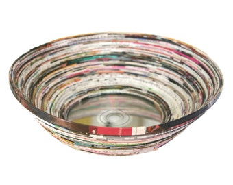 Paper coiled bowl, upcycled magazine CD bowl, handmade eco friendly coil bowl, recycled Borat movie CD, multicolored bowl, paper organizer