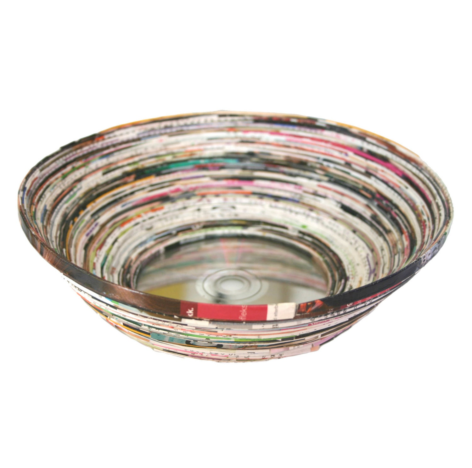 Paper coiled bowl upcycled magazine cd bowl handmade eco for How to make a newspaper bowl