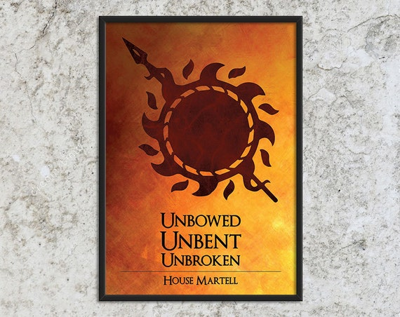 SALE - House Martell - Game of Thrones Art Print Poster - Wall Decor, Inspirational Print, Home Decor, Gift