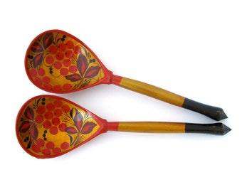 Set of 2 wooden Khohkloma spoons, Russian folk art, Home Decor, Kitchen utensil, Hohloma, Russian spoons, Made in USSR, Soviet Union, 1980s