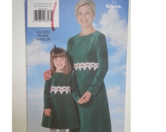 Matching mother daughter/ 90s / matching/long sleeve dress / 1997 sewing pattern, Size 2 3 4 5 6 6X, Size 6 8 10 12 14 16 18, Butterick 5216