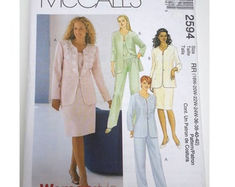 Mother bride outfit/pant suit /pantsuit/elastic waist/jacket /skirt / 2000 sewing pattern, Bust 40 42 44 46, Size 18 20 22 24, McCalls 2594