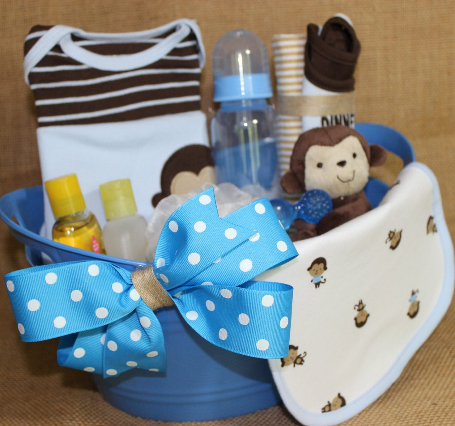 Baby Gift Basket Etsy : Adorable monkey themed baby boy gift basket filled with cute